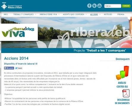 Imatge de la noticia El dispositiu d'inserció sociolaboral impulsat pel Consell Comarcal de la Ribera d'Ebre aconsegueix una inserció del 33% en empreses de la comarca durant el 2014