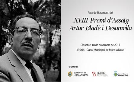 Imatge de la noticia Móra la Nova, escenari del lliurament del XVIII Premi d'Assaig Artur Bladé Desumvila de la Ribera d'Ebre