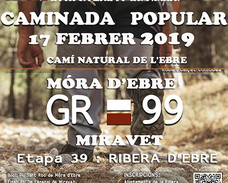 Imatge de la noticia Oberta la inscripció a la caminada popular per conèixer l'etapa 39 del GR-99 entre Móra d'Ebre i Miravet, el 17 de febrer