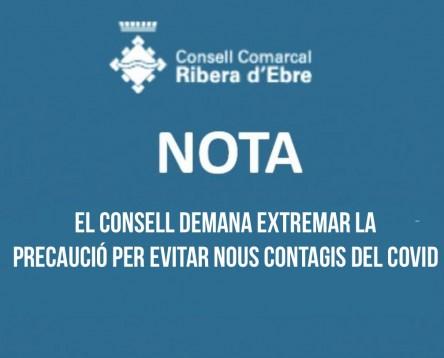 Imatge de la noticia El Consell Comarcal de la Ribera d'Ebre demana a la població extremar la precaució i seguir sempre les mesures sanitàries establertes