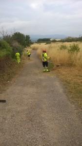 La brigada treballant a pels camins de la comarca.