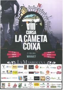 Cartell de 2016 de la Cursa Cameta Coixa de Miravet.