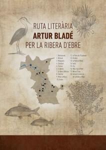 Mapa de la Ruta Literària Artur Bladé per la Ribera d'Ebre.