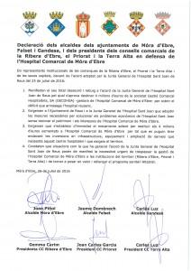 Declaració en defensa de l'Hospital Comarcal de Móra d'Ebre