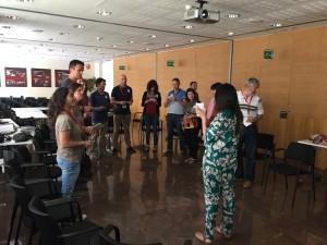 Imatge de la trobada realitzada a Barcelona per formar els dinamitzadors dels espais de coworking rural a Catalunya.